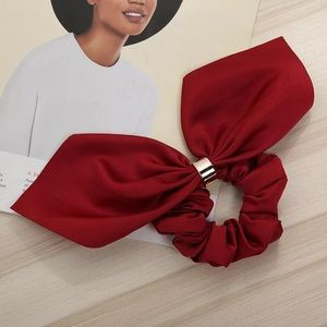 🎉 Red Satin Scrunchie Hair Bow Accessory New!